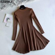 chic Autumn Winter black Sweater Dress Women o-neck Long Sleeve A Line thick Knit mini Dress female girl short bodycon dress