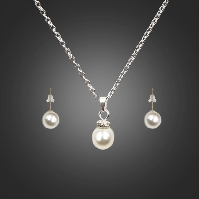 Liffly New Fashion Imitation Pearl Jewelry Sets Pendant Necklace Earrings Sets Charm Wedding Jewelry Woman Clothing Accessories