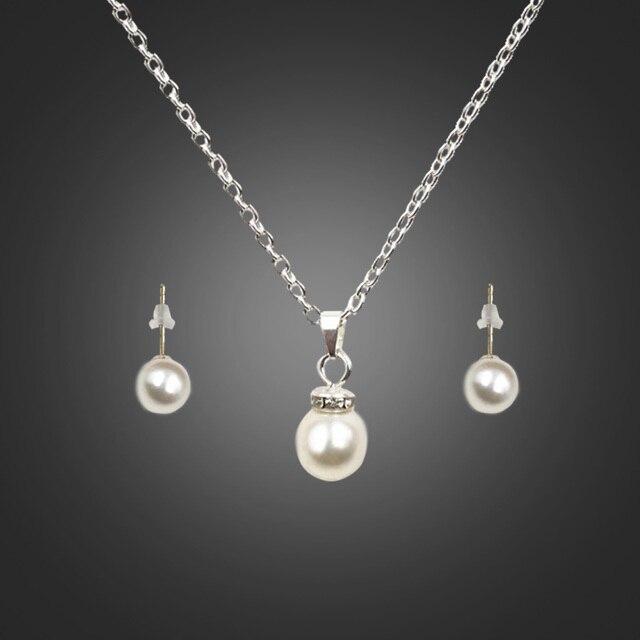 7e096cdf78f9 Liffly nueva moda imitación perla conjuntos de joyería colgante collar pendientes  joyas de boda mujer Ropa