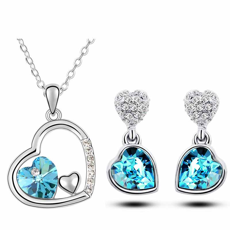 AAAA+ quality crystal double heart pendant Necklace Earrings fashion jewelry sets classic charms women accessories