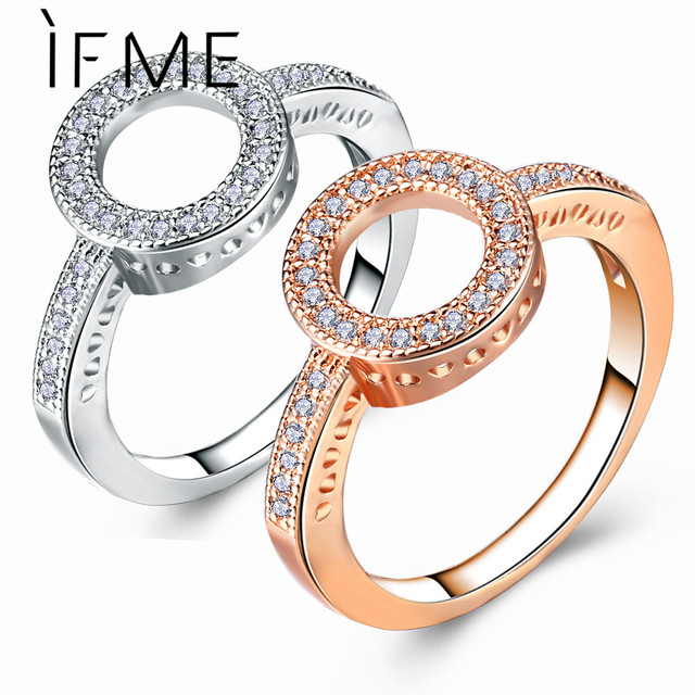 IF ME Fashion Round Crystal Cubic Zirconia Rings for Women Trendy Rose Gold Silv