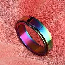 Gay Trendy Love Jewelry Multicolor Print Rotating Steel Rings