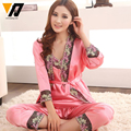 Women Lingerie Nightwear Pajamas Silk Sleepwear Set Sexy Satin Female Lace Embroided Sleeping Suit