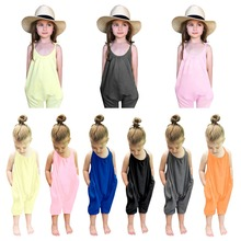 Модный комбинезон для маленьких девочек; розовый комбидресс; брючный костюм без рукавов для маленьких детей; летняя одежда без спинки для девочек; От 0 до 7 лет