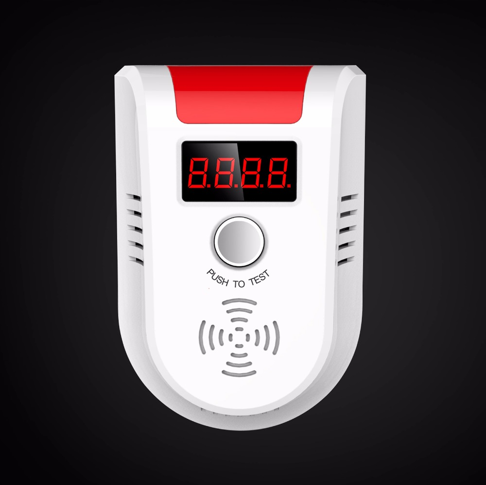 Wireless Digital LED Display Combustible Gas Detector Independent Red LED Light Flashes For GSM PSTN Home Security Alarm System 433mhz wireless gas detector sensitive combustible co gas detector fire alarm sensor for wireless gsm pstn home security