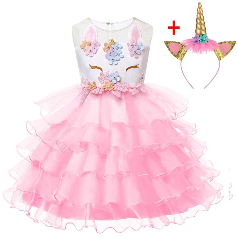 Unicorn Dresses For Elsa Costume Carnival Christmas Kids Dresses For Girls Birthday Princess Dress Children Party Dress fantasia