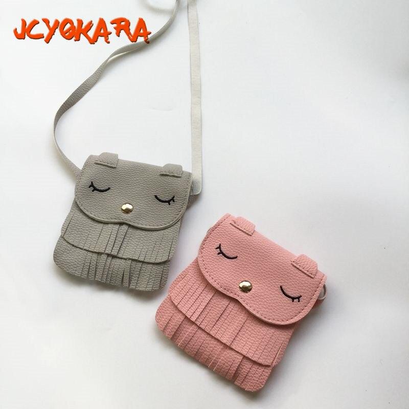 JCYOKARA JC KIDS PU Girls Small Kitten Tassel Coin Purse Kids Fashion Korean Style Mini Coin Purse Baby Cat Messager Bag