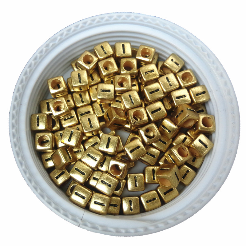 Considerate Free Shipping 6*6mm Big Hole 500pcs 2600pcs Gold Tone Acrylic Alphabet Beads Single Initial I Printing Plastic Letter Cube Beads Buy Now Jewelry & Accessories