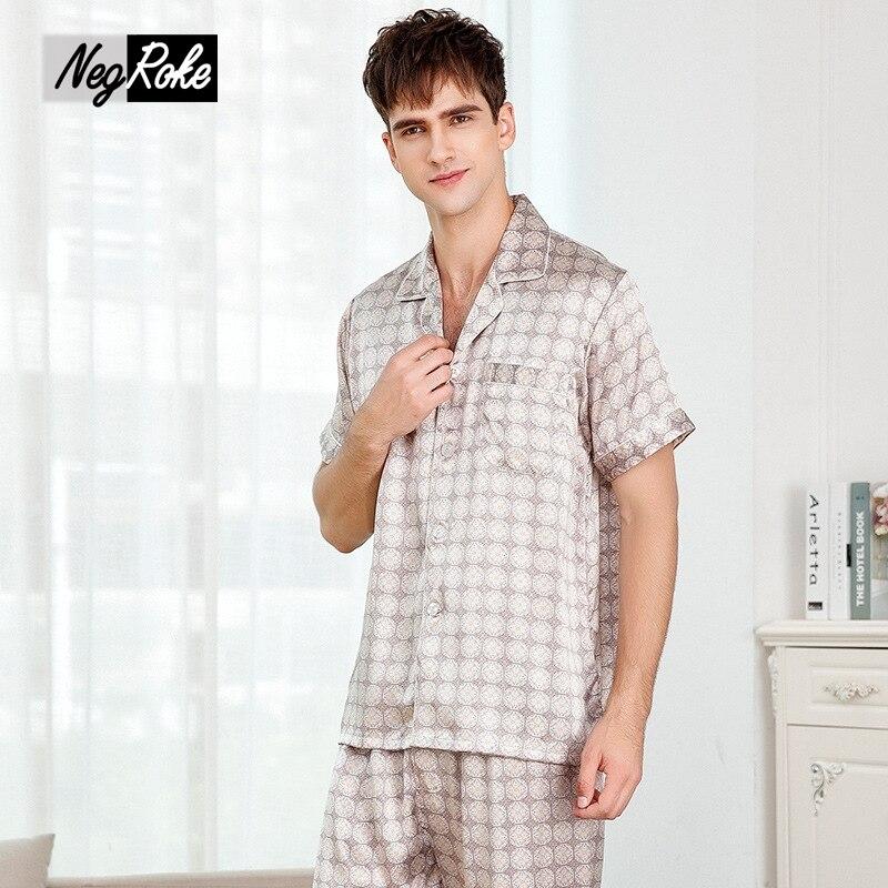100% шелк Короткие рукава модные пижамы комплекты мужские летнее клетчатое Подлинная шелковые мужские пижамы мужской домашние пижамы pijamas