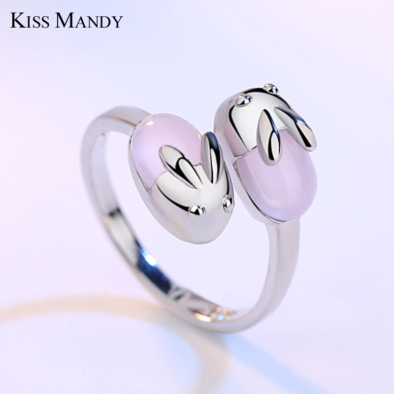 KISS MANDY Factory Price Cute Open Rings with 2 Pink Quartz Rabbits Silver Color Fashion Jewelry Birthday Gift 2018 AR07 letra g bem bonita