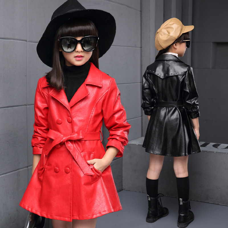 Toddler Girls Trench Coat Autumn 2018 Children Long Coat Kids Outerwear Jackets Teenage Girls Clothing Fashion Outwear 10 12 14 цены