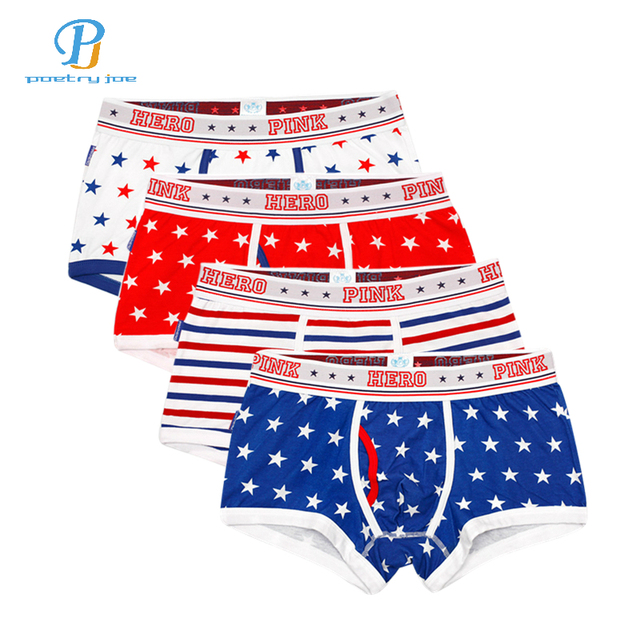 51d0eee0fd Pink Heroes 4pcs lot Men Underwear Boxers Printing Of Cotton Star Boxer  Mens Underwear Fashion