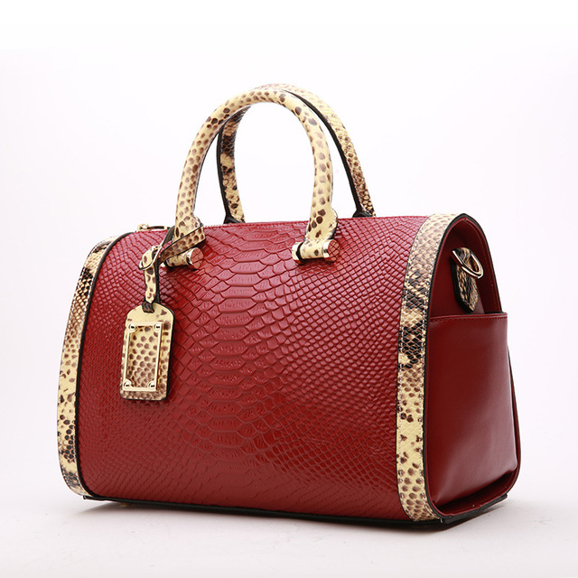 0726a36a05 2018 Luxurious Serpentine Pattern Women Boston Bag 100% Real Leather Ladies  Handbag Elegant Shoulder Bag Snake Leather Tote Bag
