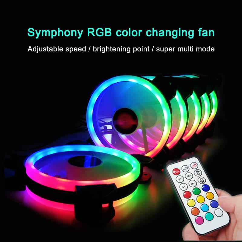 RGB PC Fan 12V 6 Pin 12cm Cooling Cooler Fan With Controller For Computer Silent Gaming Case QJY99