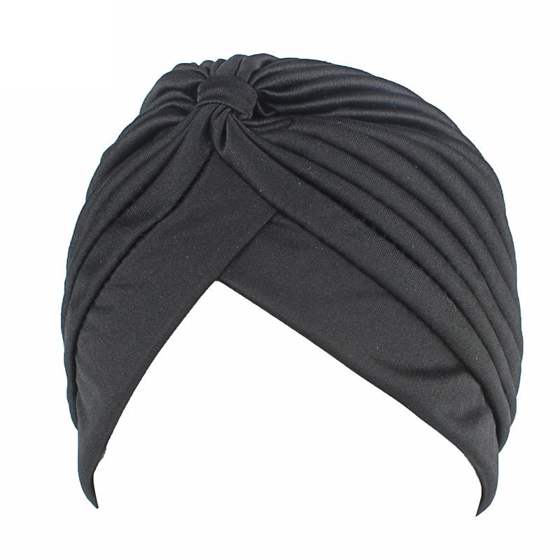 11color Solid Muslim Turban Cap Women Elastic Stretchy  Beanies Hat Bandanas Big Satin Bonnet Indian Women Holiday Turban F0239