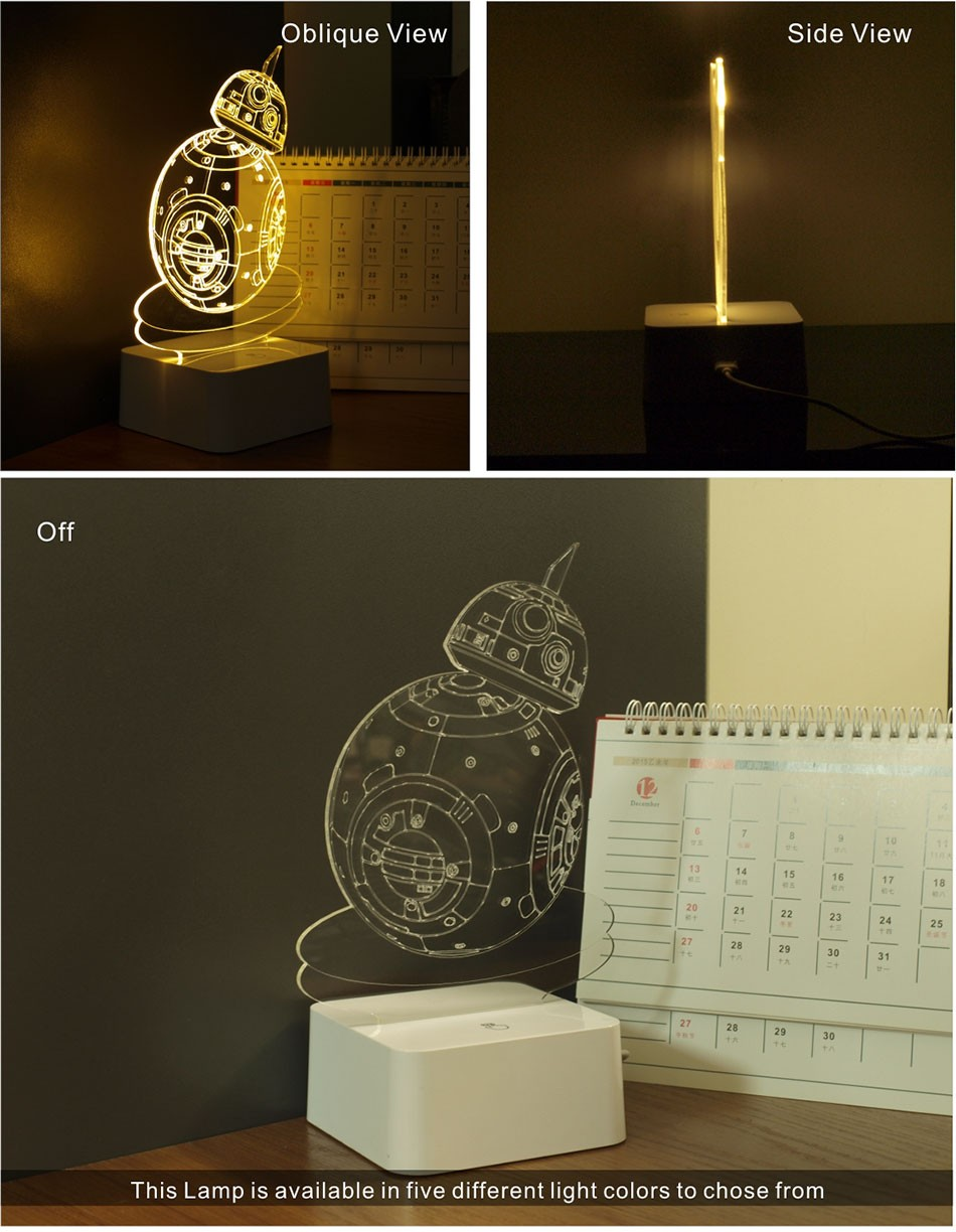 CNHIDEE USB Novelty 3D Visual Night Lights Star Wars Robort BB-8 Shaped Touch Table Desk Lamp Bubling Light as Creative Gifts (2)