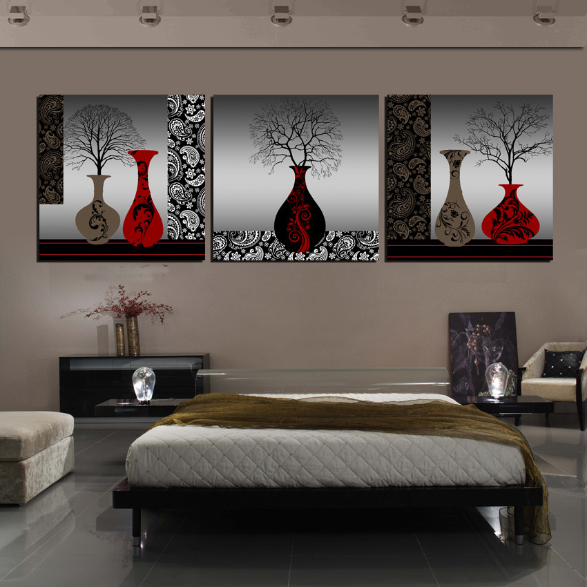 Vintage Clic Flower Vase Print Painting Canvas Abstract Black Red Art Wall Decorative Pictures For Home Room 2 Piece No Frame In Calligraphy
