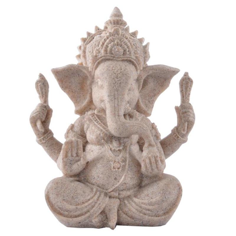Fengshui Buddha Sculpture Sandstone Indian Ganesha Elephant God Statue Religious Hindu Elephant-Headed Home Decor Crafts