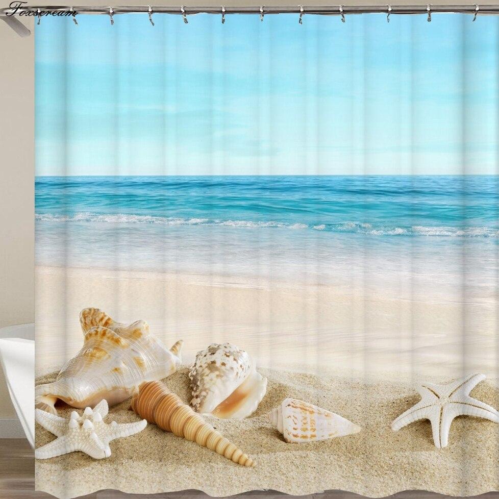 1x Ocean Sea Beach Shell Print Waterproof Bathroom Fabric Shower Curtain w//Hooks
