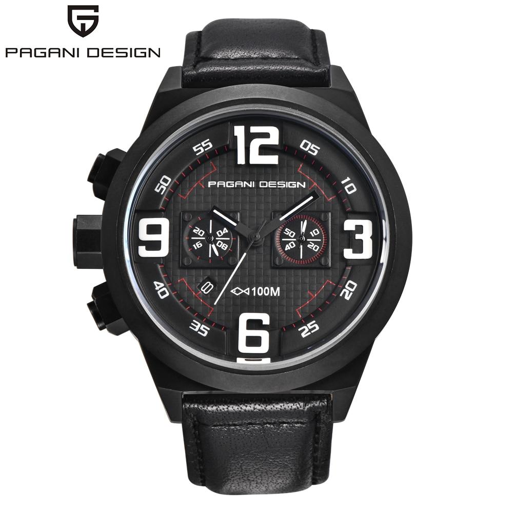 ФОТО PAGANI DESIGN Brand Sport Military Watches Big Dial Design Waterproof 30m Chronograph Date Quartz Men's Watch Relogio Masculino