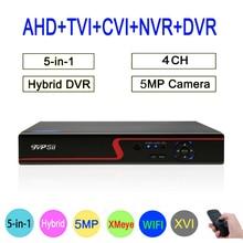 Hi3521A XMeye Red Panel 4CH 5MP Hybrid Coaxial WIFI 6 in 1 XVI TVI CVI NVR AHD CCTV DVR Surveillance Video Recorder FreeShipping