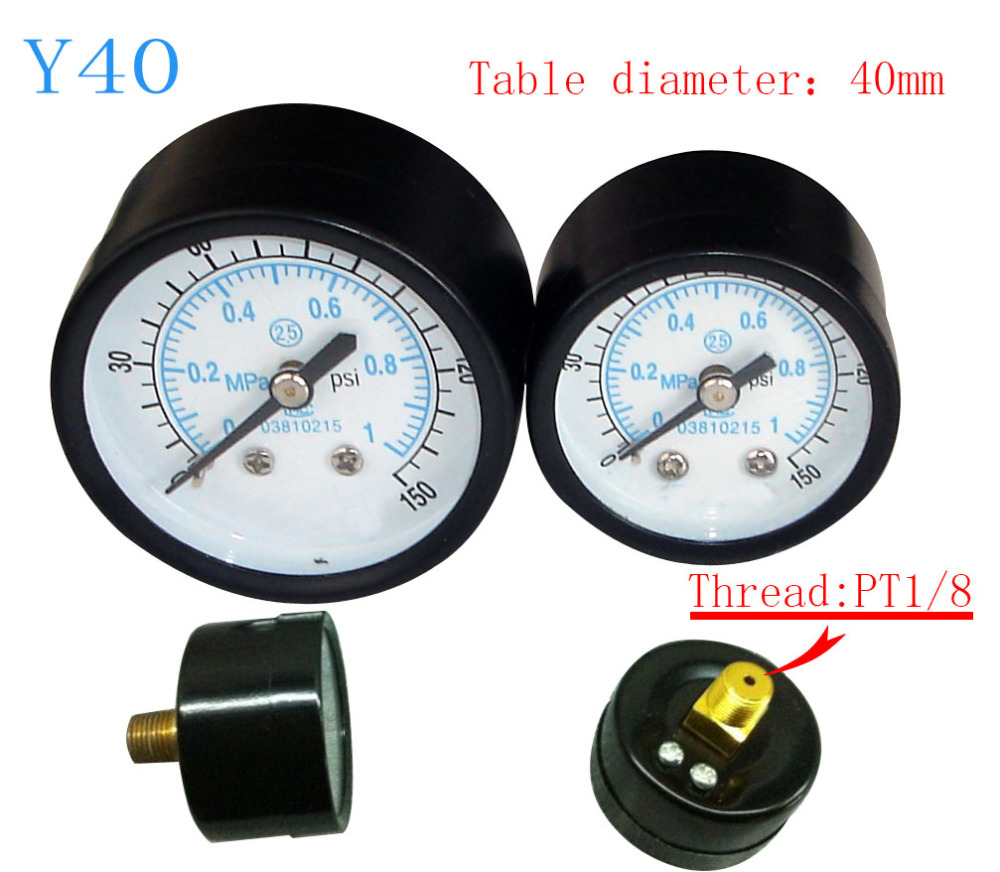 Free Shipping Small pressure gauge Y40 axial pressure gauge, thread 1/8, measuring range 1MPa  цены