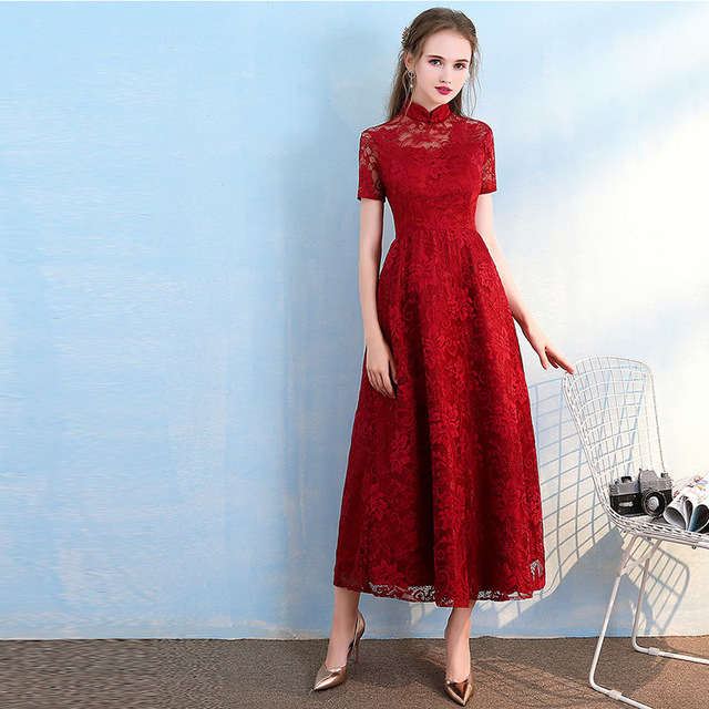 New Wine Red Vintage Cheongsam Fashion Long Lace Qipao Chinese ...