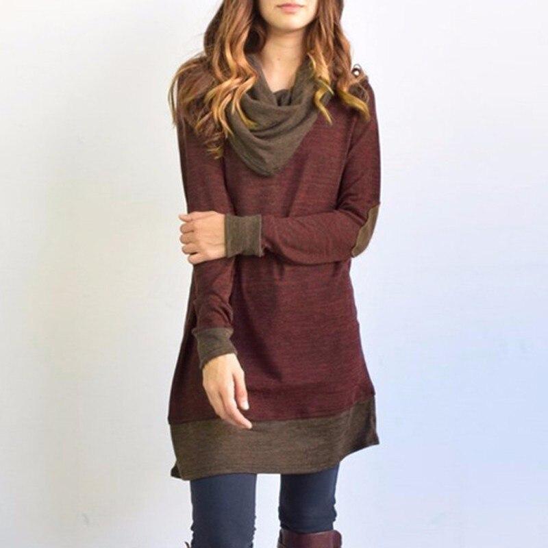 2018 neue Frauen Langarm Patchwork Pullover Ellenbogen Patches Gugel Neck Femme Lange Tops Casual Frühling Herbst Bluse Shirts Dünne