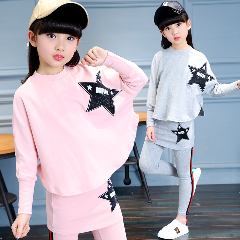 Tracksuit Girls Sports Suits Fashion Toddler Girl Clothing Sets 2017 Spring Autumn Star Outfit Clothes Size 4 6 8 10 Year 2014 spring autumn new fashion girls sports suits zipper coat trousers flowers print big girl clothes sets children sportswear