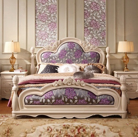 european style solid wood home double beds hand carved bedroom furniture sets queenking size - Hand Carved Bedroom Furniture
