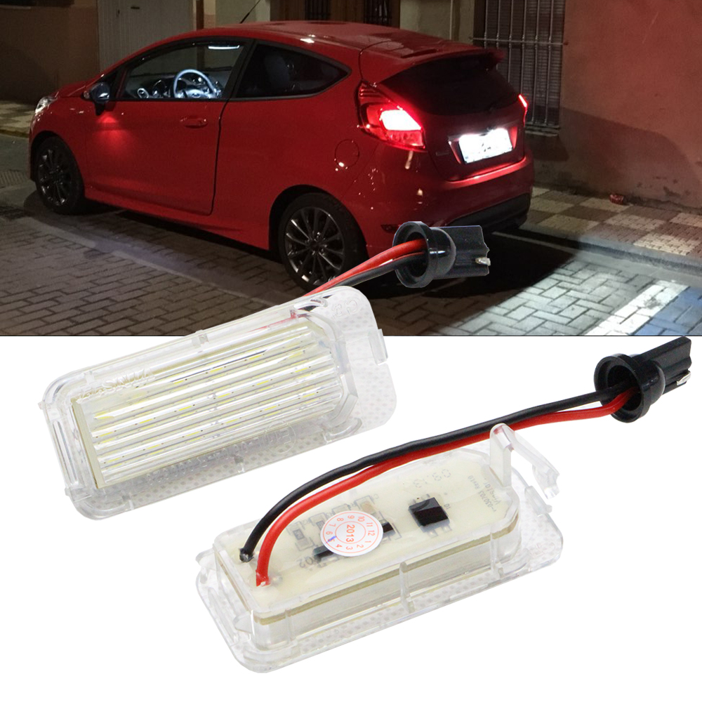 2PCS Canbus LED License Plate Light 18LED Lamps For Ford Focus Fiesta Mondeo MK4 Kuga Galaxy S-max C max Mk2 DA3 MK3 MK5 MK6 2x 18 smd led license plate light module for ford focus da3 dyb fiesta ja8 mondeo mk4 c max s max kuga galaxy
