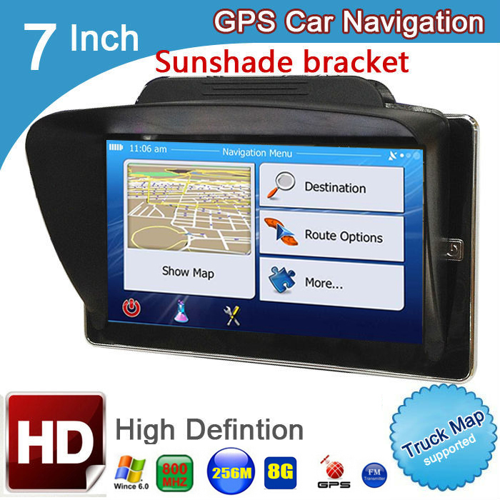 7 Inch Truck Bluetooth AVIN 256M 8GB GPS Navigation Car Navigator With Sunshade And Rear View Wireless Camera Newest Global Maps