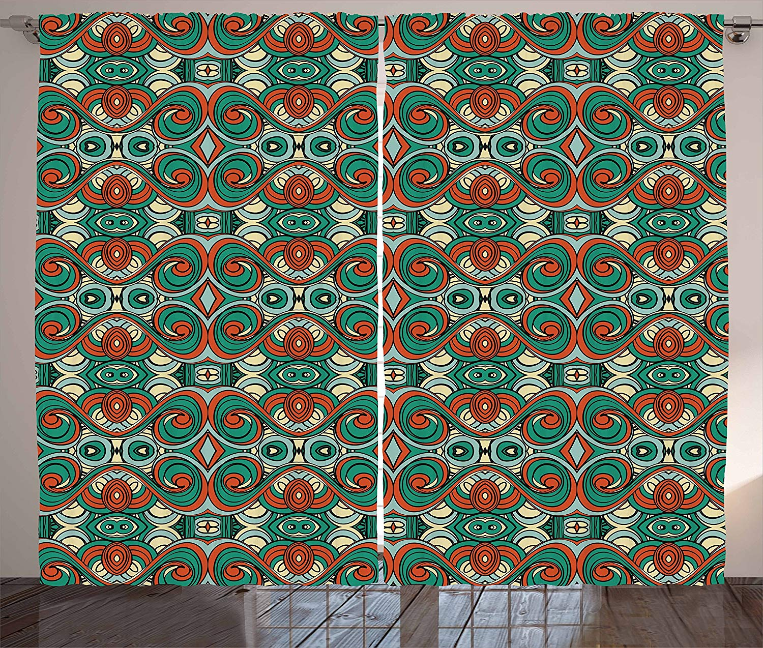 Ethnic Curtains Abstract Motifs With Swirling Wavy Details Ancient Vintage National Design Elements Living Room Bedroom Window