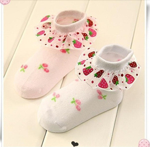 New arrive girls laces Strawberry sock 2-4years older baby cotton socks baby infant socks small kids socks 5BWZ09 13-15CM
