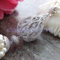 41 White Round Pearl Necklace CZ Pendant