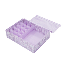 16 Lattice Cloth Bras Underwear Storage Box With Covered Multifunction Clothing Storage Organizer Socks Container