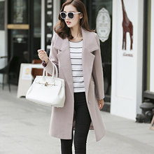 2018 New Elegant Lady Long Cashmere Coat Female European Styel Warm Autumn Winter Wool Women Jacket Coat Casaco Feminino XXL