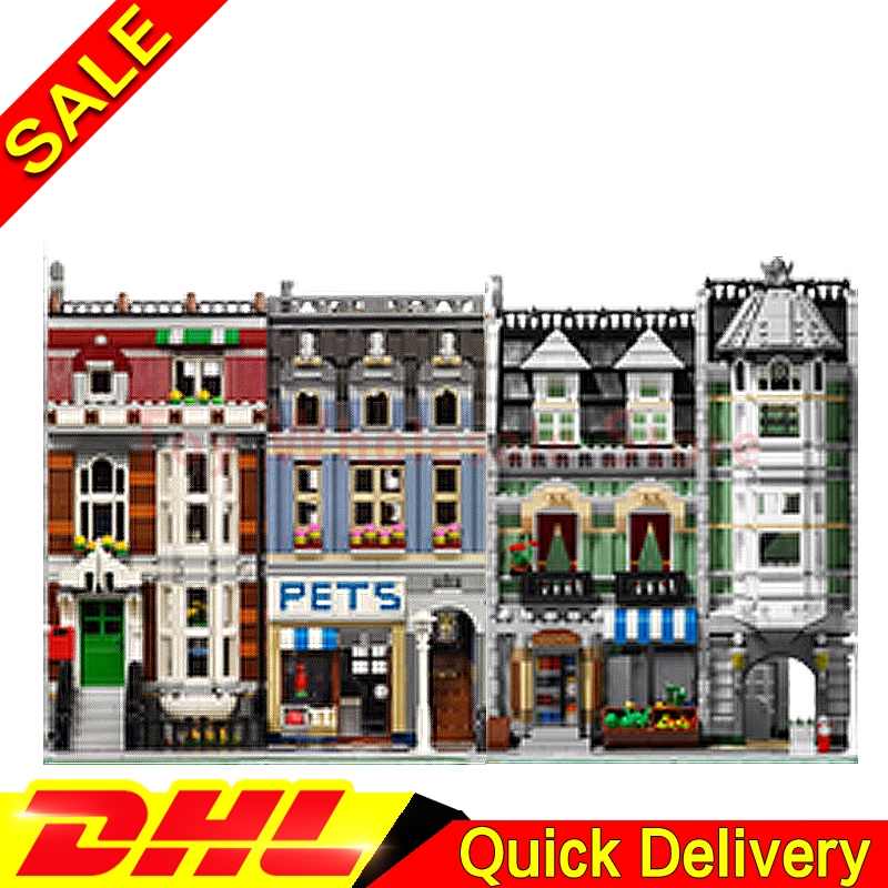 Lepin 15008 Green Grocer + Lepin 15009 Pet Shop Supermarket Model Building Street Sight Blocks Bricks lepins Toy 10185 10218 lepin 15008 2462pcs genuine new city street green grocer model building kit blocks bricks toy gift compatitive funny 10185