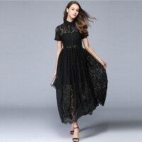 High Waist Black Lace Dress Women Long Elegant Ladies Party Dresses Plus Size Zaful Vintage Dress