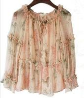 100% Silk Floral Printed Ruffle Plus Size Loose Boho Top Off Shoulder Long Sleeve Sexy Elegant Pink Blouse