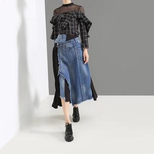 Image 2 - EAM Falda vaquera de cintura alto Irregular para mujer