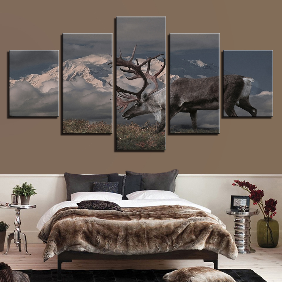 Canvas Wall Art Pictures Frame Home Decor Room Poster 5 Pieces Snow Mountain Elk Cloudlet Landscape HD Printed Abstract Painting