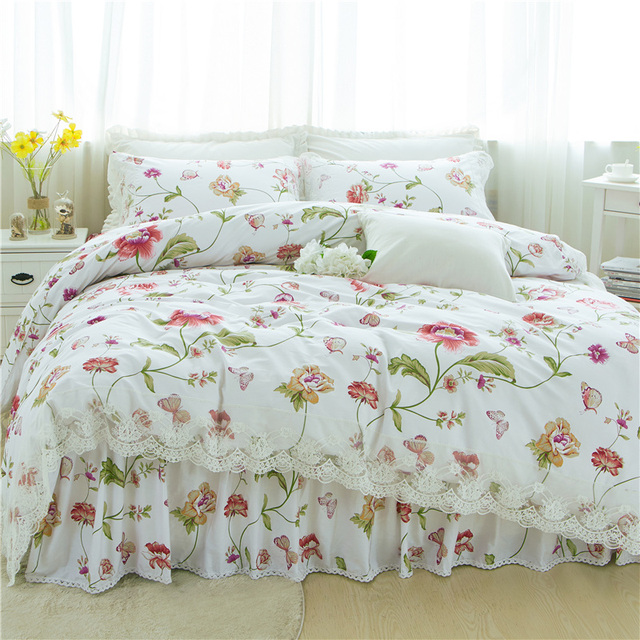 81a776e03a89 Summer Pink Flowers White Bedding Sets Queen King Double Twin Size Egyptian  Cotton bed skirt Duvet Cover Sheet Pillow Cases