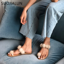 SUOJIALUN 2019 Summer Women Fur Slippers Slip On Outdoor Slide Home Furry Flat Sandal Female Cute Fluffy Flip Flop Shoes