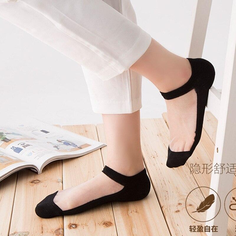 Cute Shallow Mouth Boat Socks Transparent Crystal Glass Silk Socks Cotton Bottom Slip