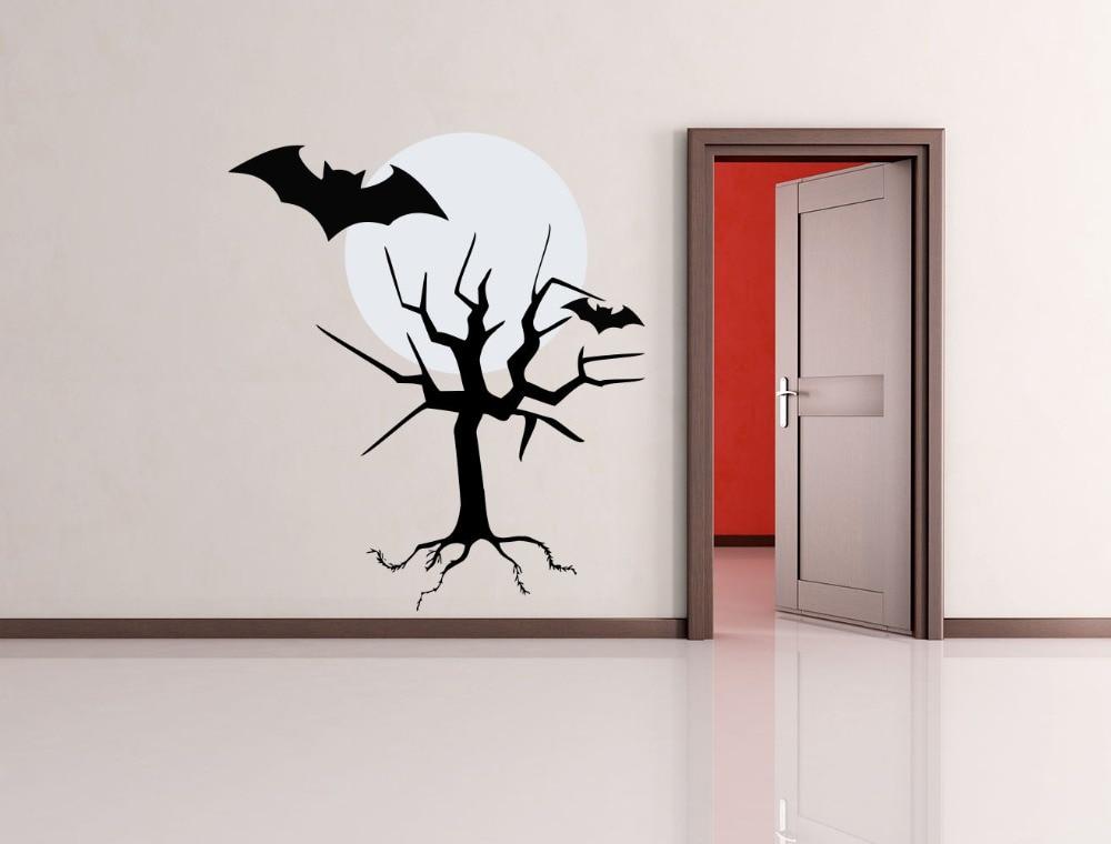 Wall Decals Halloween Tree Moon Bat Holiday Art Decor Kids Panic Room