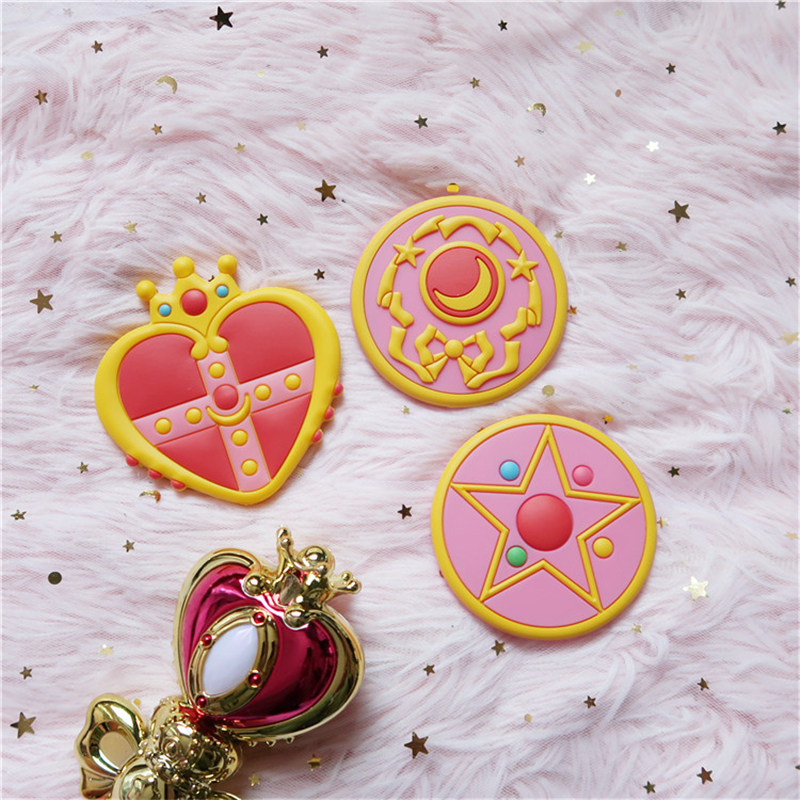Anime Sailor Moon Cosplay Accessories Tsukino Usagi Women Girls Crescent Love Crown Portable Makeup Mirror Magic Wand Hand-held 1