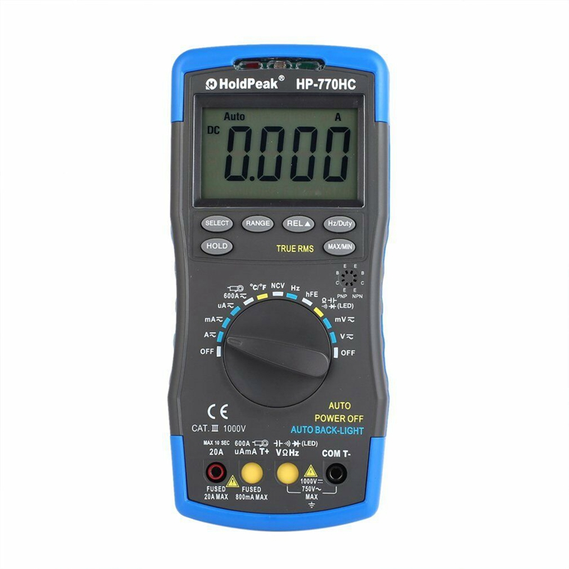 Holdpeak Hp-770Hc True Rms Auto Ranging Digital Multimeter With Ncv Feature And Temperature/Frequency/Duty Cycle Test