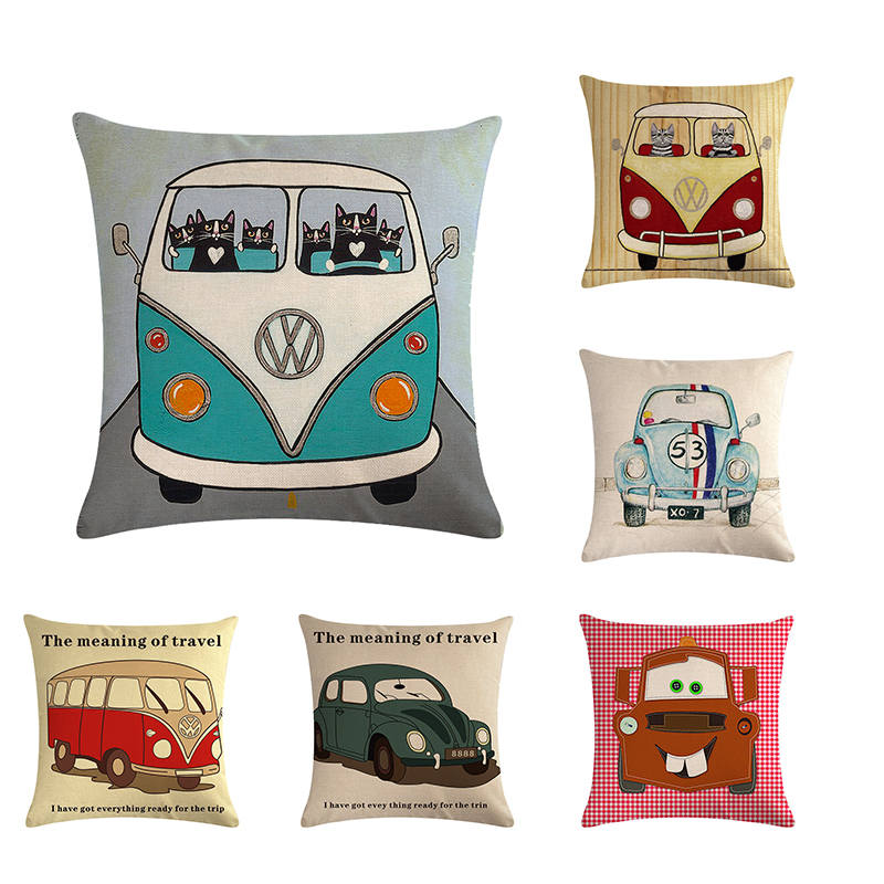 Magnificent Us 2 8 25 Off 45Cm 45Cm Retro Volkswagen Bus Design Linen Cotton Throw Pillow Covers Couch Cushion Cover Home Decorative Pillows Zy404 In Cushion Creativecarmelina Interior Chair Design Creativecarmelinacom