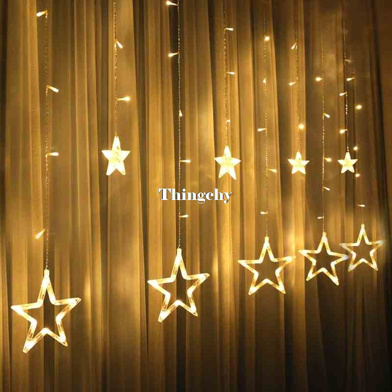 220V 138pcs LED luci stringa di fata Star Curtain Lights Decorazioni - Illuminazione festiva